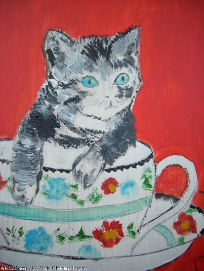 Artwork >> Marie Christine Legeay >> CHAT - CAT IN THE BOWL