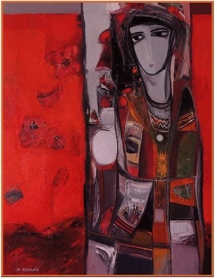 Artwork >> Noureddine Zekara >> Woman in red