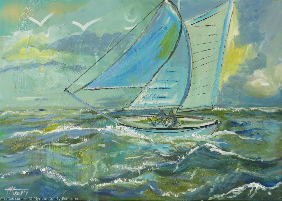 Art by Myriam Courty Peintures : Myriam Courty Peintures - sailboat in a grain