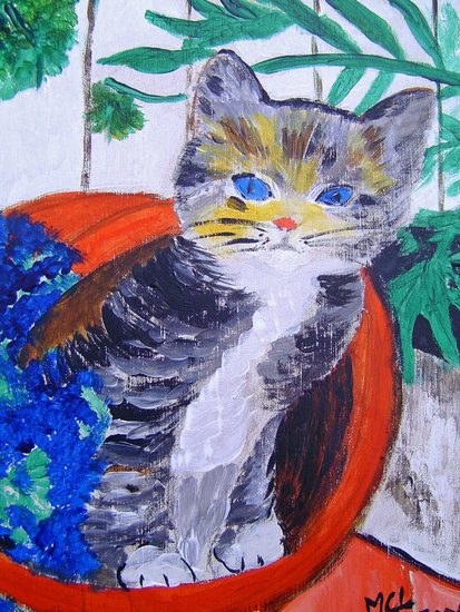 Artwork >> Marie Christine Legeay >> CAT AND THE FLOWER JUG