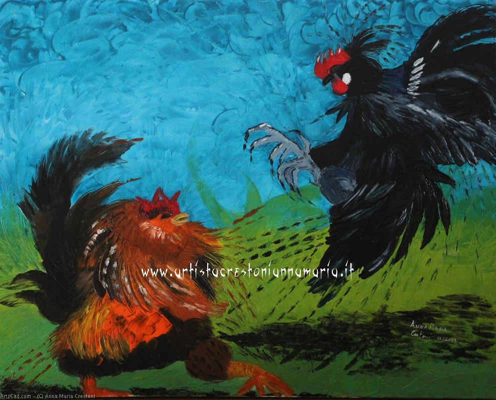 Art by Anna Maria Crestoni : Anna Maria Crestoni - that way wrestling Gods roosters