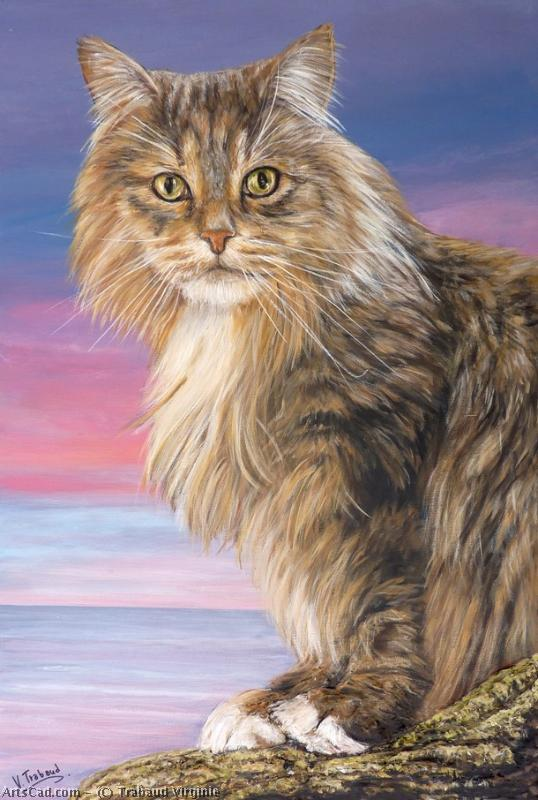 Artwork >> Trabaud Virginie >> cat maine coon sitting