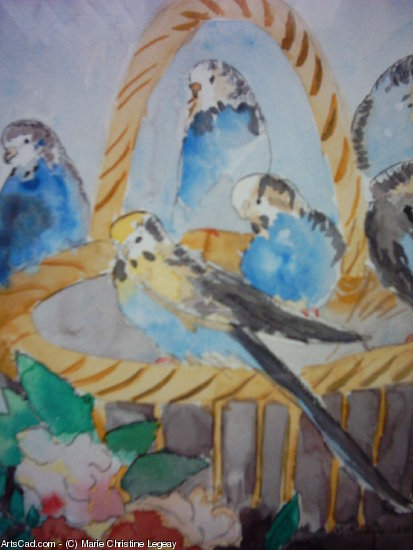 Artwork >> Marie Christine Legeay >> TEA PARAKEETS