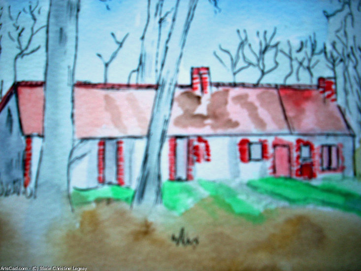 Artwork >> Marie Christine Legeay >> SOLOGNE TYPICAL HOUSE - TYPICAL HOUSE IN SOLOGNE