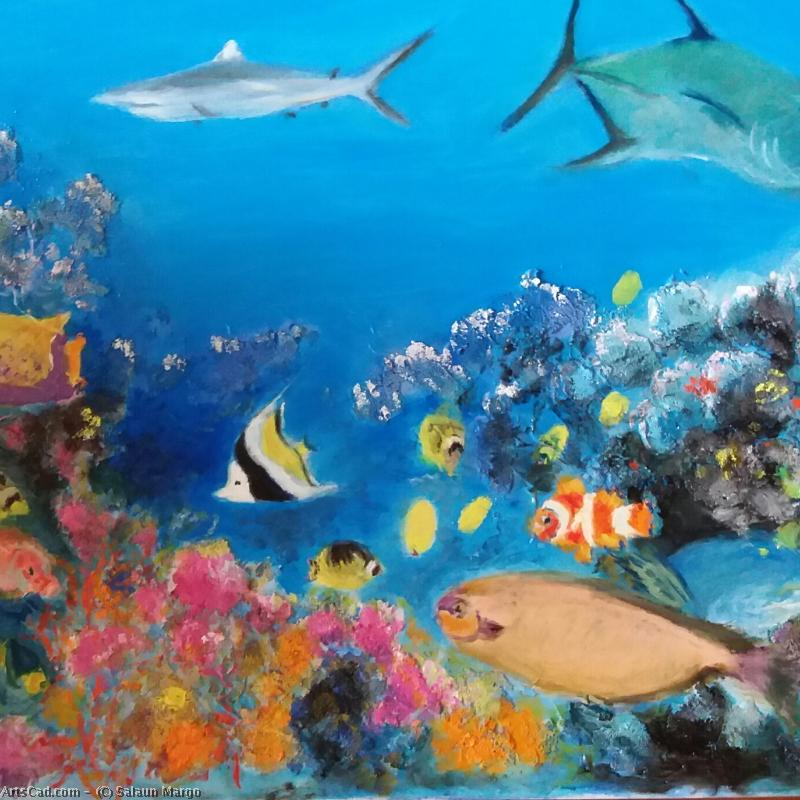 Artwork >> Salaun Margo >> L'aquarium d'après picture postcard tahitian