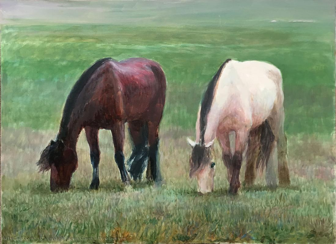 Art by Jiqun Chen : Jiqun Chen - Two horses