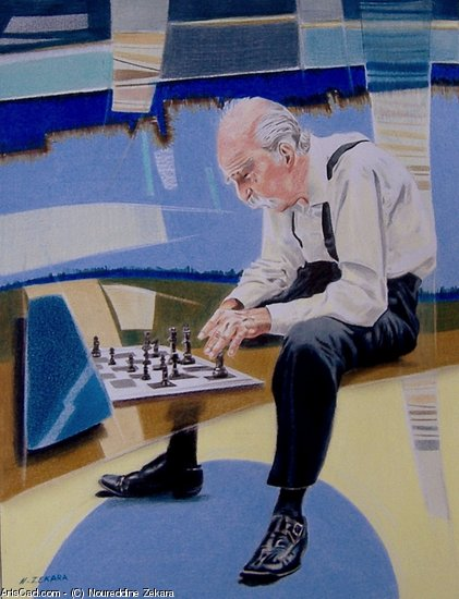 Artwork >> Noureddine Zekara >> Old chess player