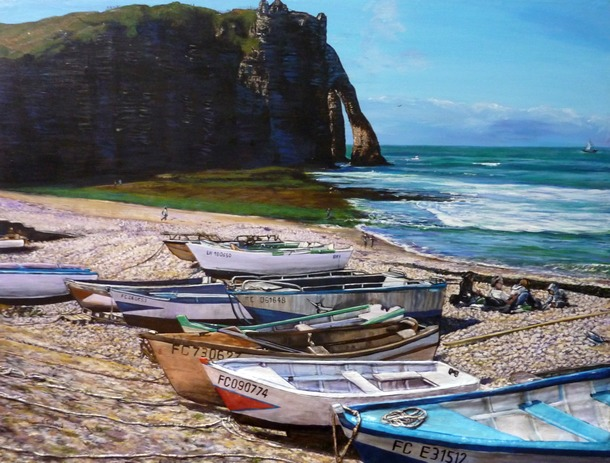 Artwork >> Trabaud Virginie >> Beach and Cliffs d'Etretat