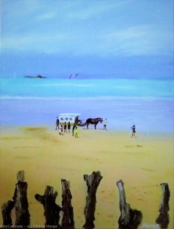 Artwork >> Salaun Margo >> Small ride horse carriage on the beach of the groove