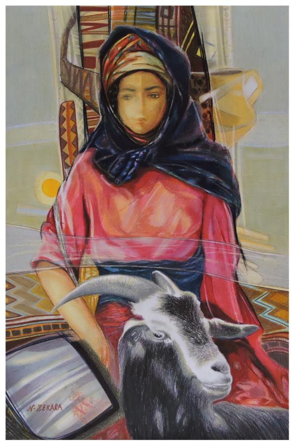 Artwork >> Noureddine Zekara >> The Young Maid up and  there  goat