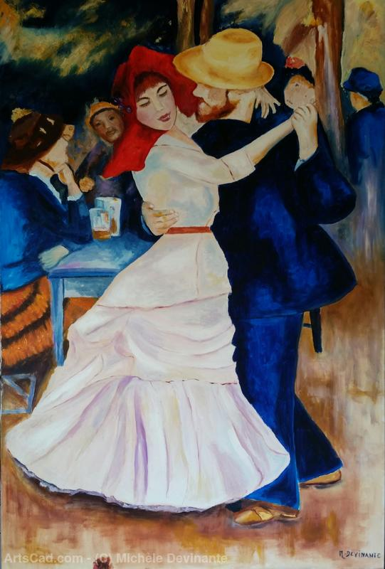 Michèle Devinante - 'Dance at Bougival' reproduction of a work of A. Renoir
