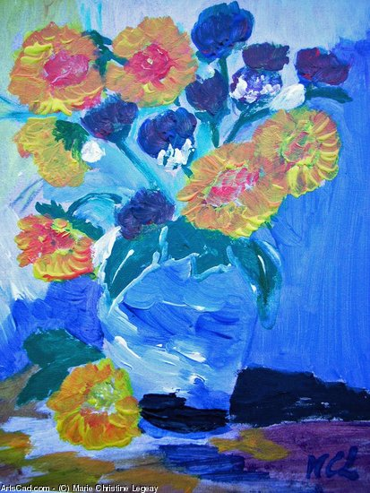 Artwork >> Marie Christine Legeay >> bouquet of sunflowers