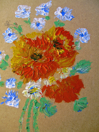 Artwork >> Marie Christine Legeay >> RED AND BLUE FLOWERS