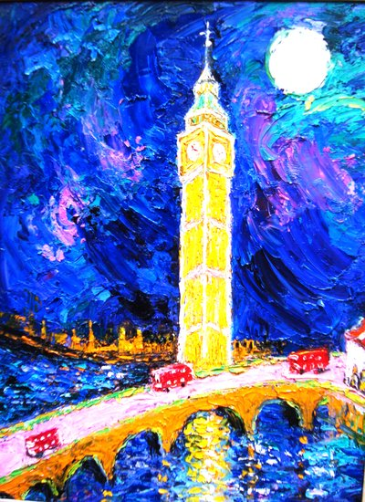 "Artwork >> Eva Kudukhashvili >> ""Big-Ben"".oil on cardboard.70x50.cm.2011y.$20000"
